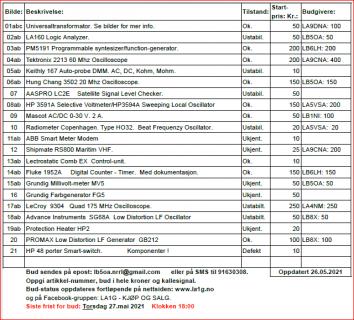 LA1G - Medlemsinformasjon 26.mai 2021 -/- Nettauksjon mai 2021.