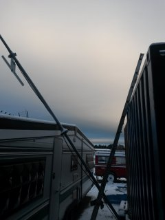Defekt antennemast for vhf- og 4 m. antenne.